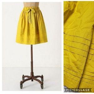 Odille Mustard Yellow Drawstring Pleated Skirt